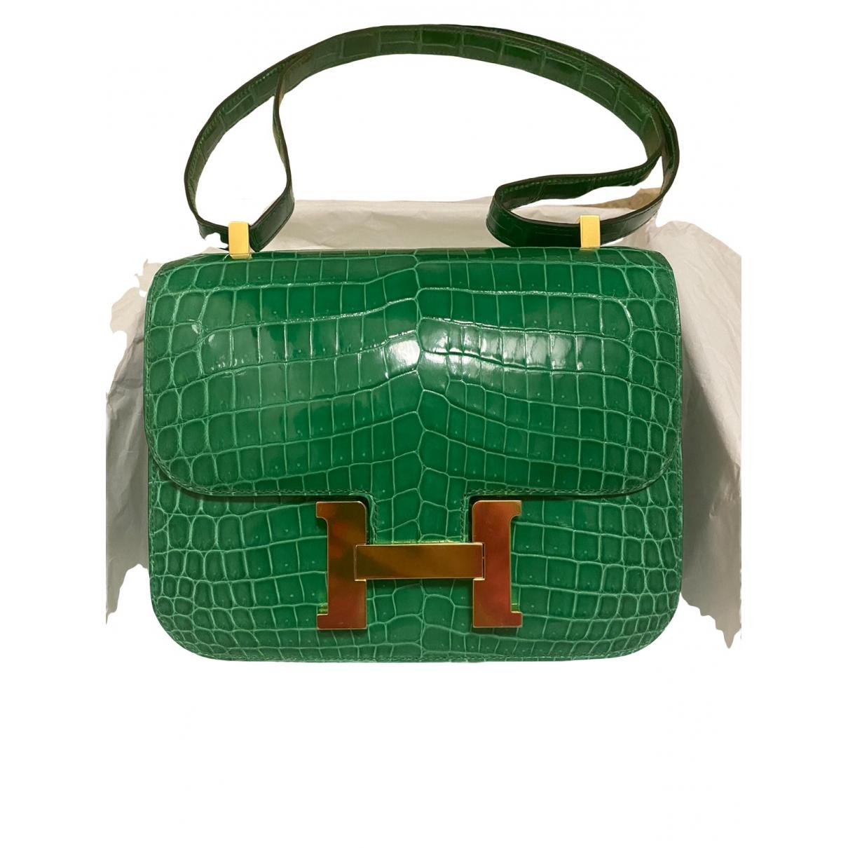 Hermes Constance Handtasche in  Gruen Leder