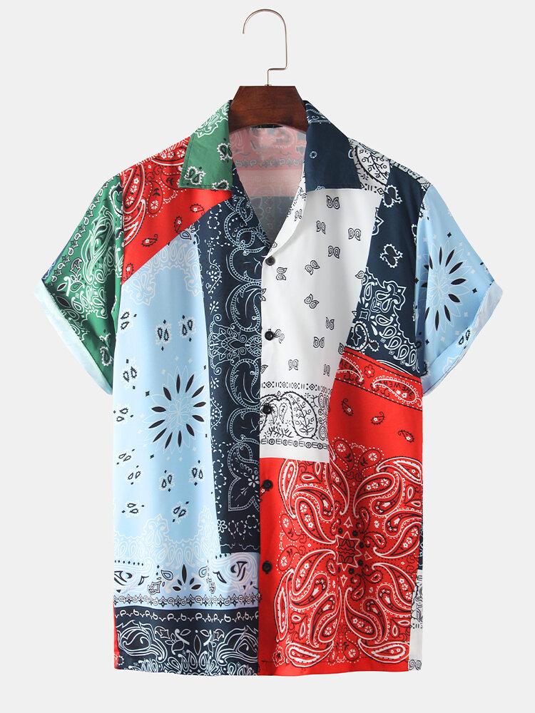 Men Ethnic Bandana Print Short Sleeve Relaxed Shirt