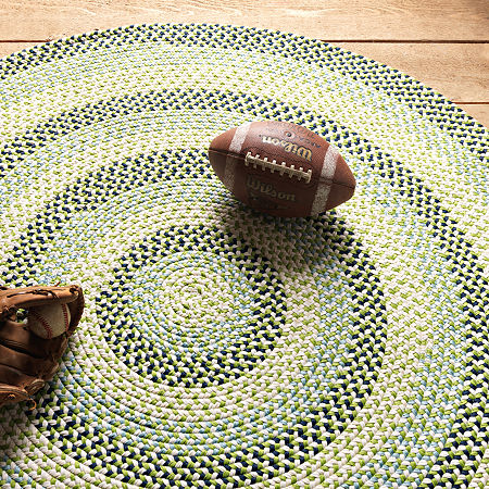 Colonial Mills Happy-Style Braided Round Reversible Indoor/Outdoor Rugs, One Size , Green