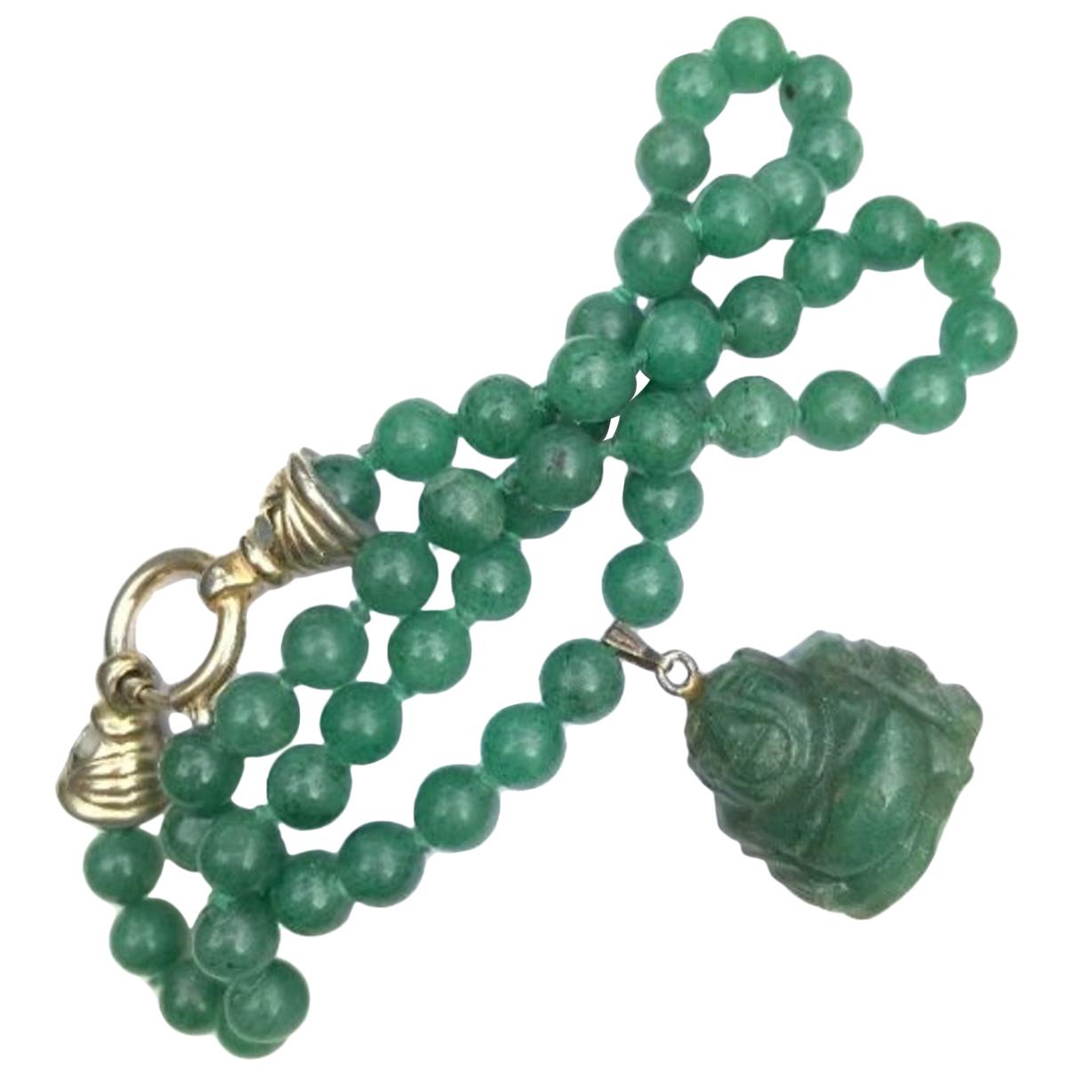Non Signe / Unsigned Motifs Religieux Kette in  Gruen Perlen