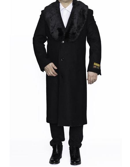 Mens Fur Collar Length Wool Top & Overcoat Black Alberto Nardoni Brand