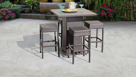Barbados Collection BARBADOS-PUB-BACKLESS-4 Barbados Pub Table Set With Backless Barstools 5-Piece Patio Furniture with 1 Pub Table   4 Barstool - No