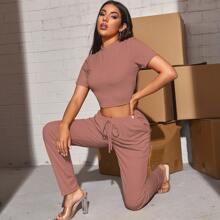 Mock-neck Solid Crop Top & Tie Waist Joggers Set