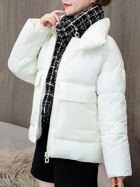 Milanoo Las mujeres Puffer Coats collar del soporte de la capa con bolsillos de manga larga corta acolchada