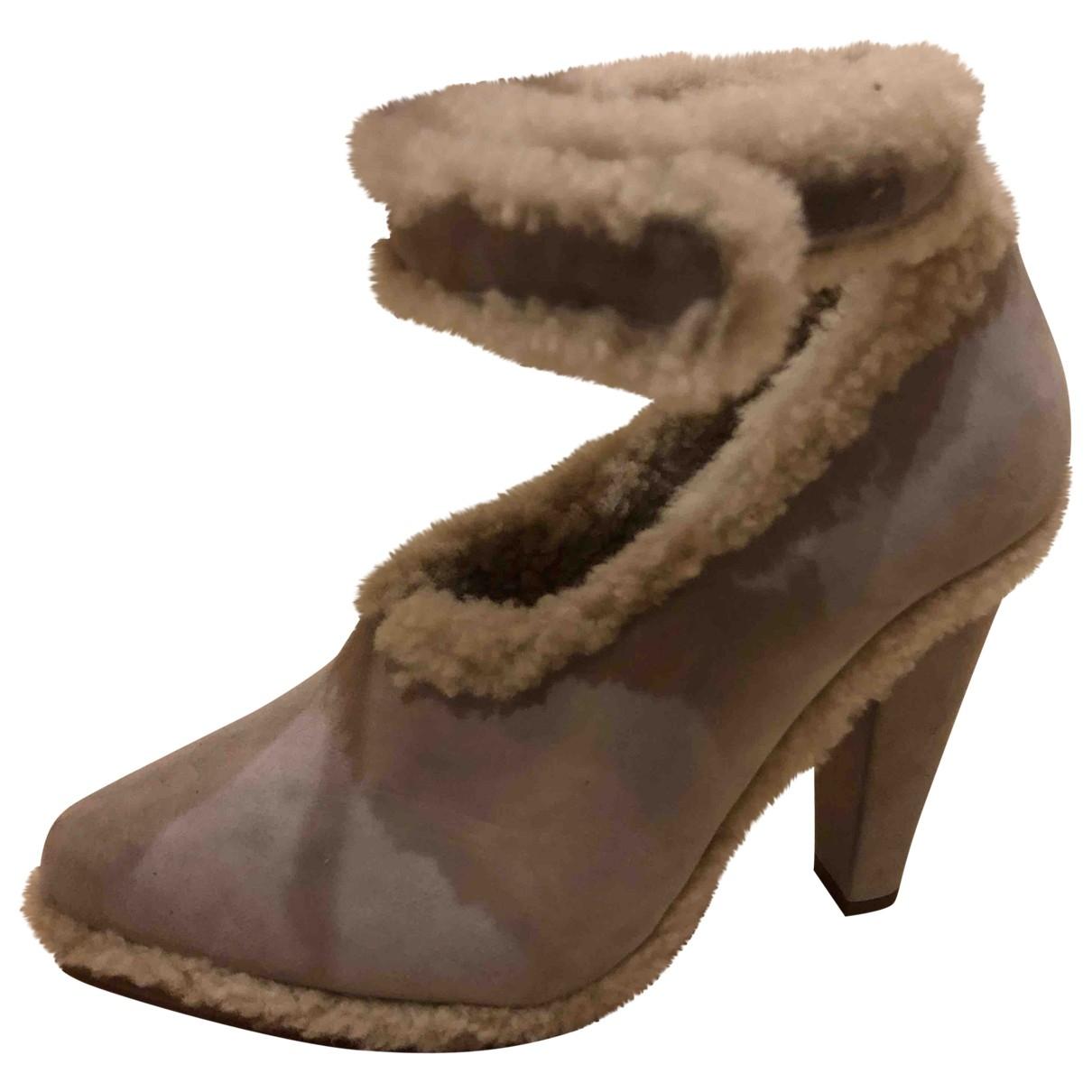 Chloé \N Grey Shearling Heels for Women 39 EU
