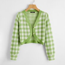 Button Front Gingham Crop Cardigan