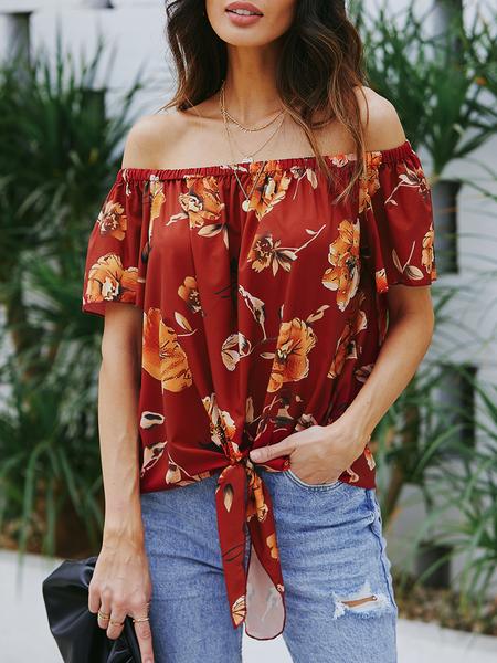 Yoins Red Elastic Strap Floral Print Off The Shoulder Blouse