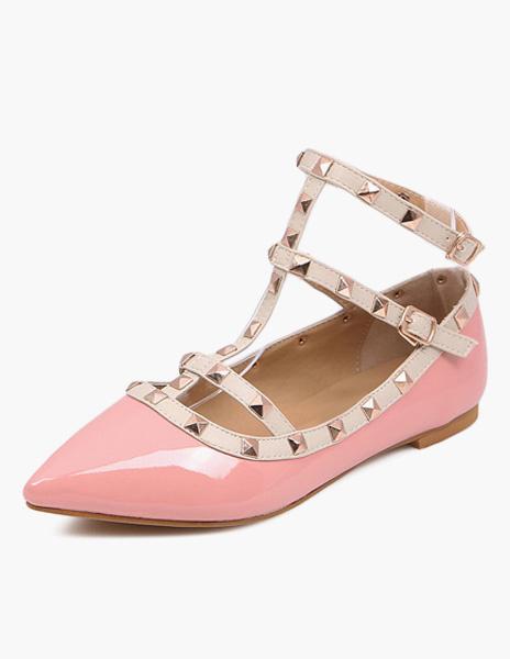 Milanoo Zapatos planos de PU con tachuelas