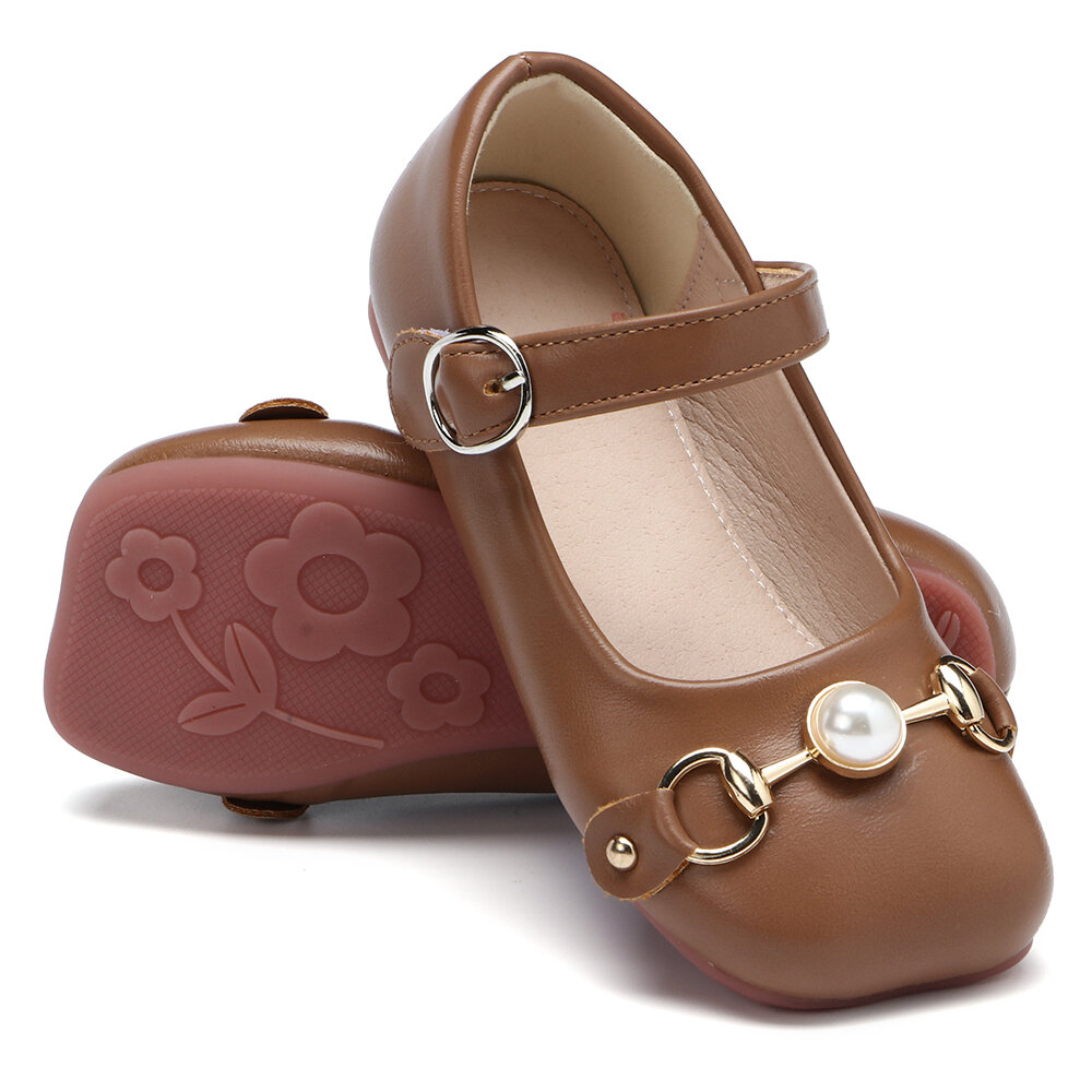 Girls Square Toe Faux Pearl Decor Buckle Strap Hook Loop Flat Loafers