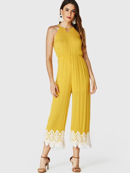 YOINS Yellow Cut Out Sleeveless Lace Hem Jumpsuit