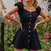 Puff Sleeve Button Front Dress