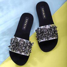 Zapatillas con diseño de diamante de imitacion de punta abierta