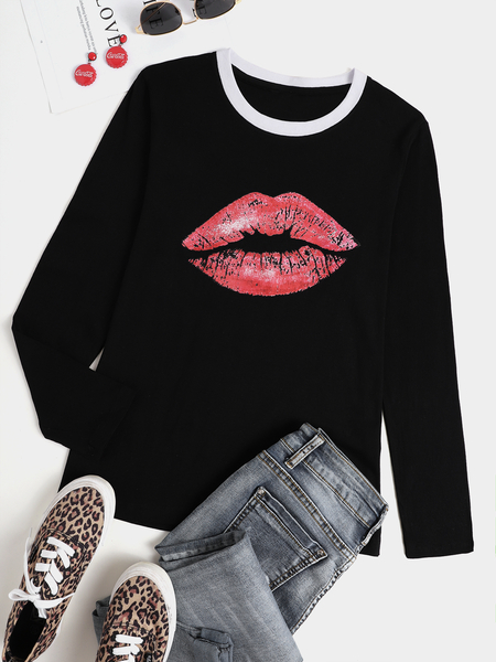 Yoins Casual Graphic Crew Neck Long Sleeves Tee