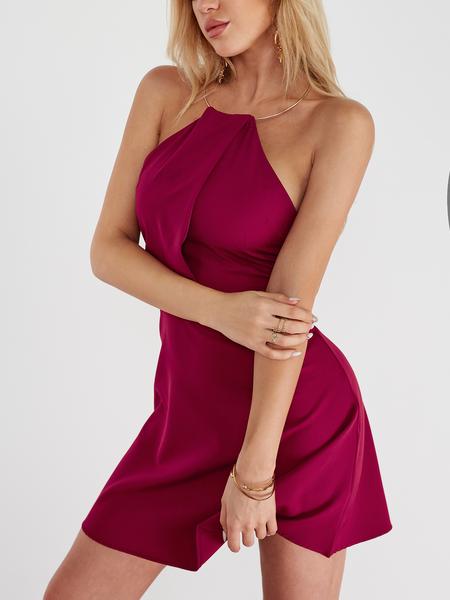 Yoins Burgundy Gold Halter Neck Detail Sleevesless Dress