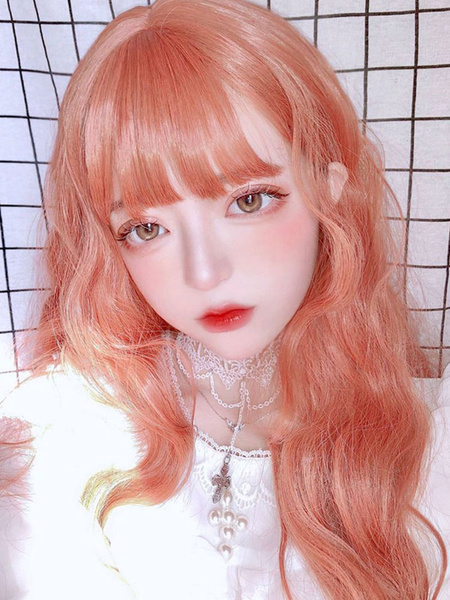 Milanoo Sweet Lolita Wigs Oragnge Red Long Heat Resistant Fiber Lolita Hair Wigs