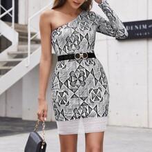 Vestido bajo elastico de cuadros geometrico de un hombro sin cinturon