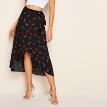 Asymmetrical Hem Wrap Belted Cherry Print Skirt