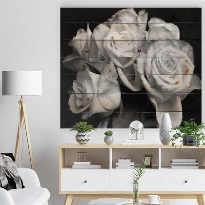 WD9986-40-30 Bunch Of Roses Black And White - Floral Art Print On Natural Pine Wood -