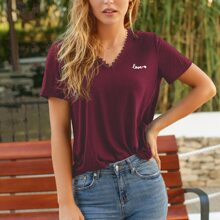 Lace Trim Letter Embroidery Tee