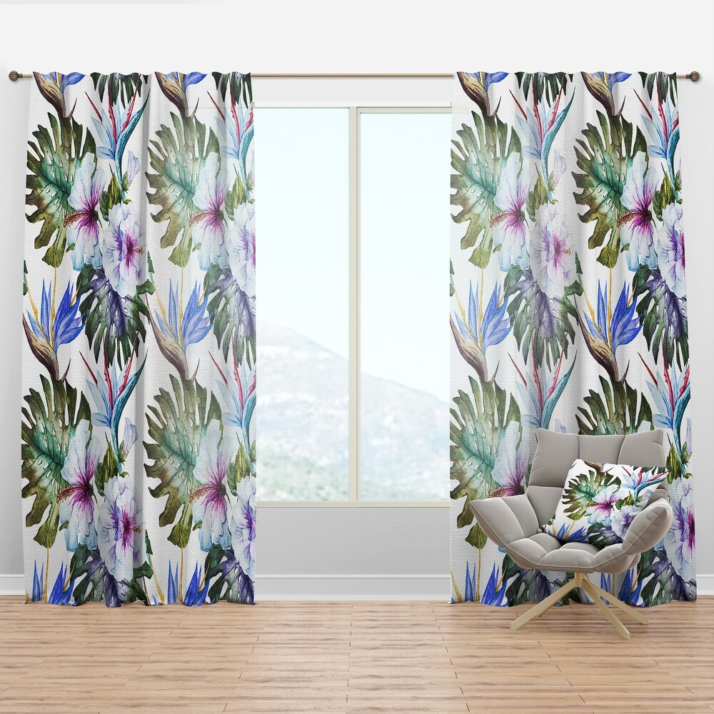 Designart 'Watercolor Hibiscus Patterns' Tropical Curtain Panel (50 in. wide x 120 in. high - 1 Panel)