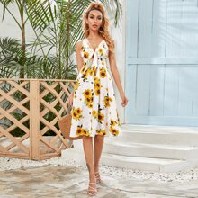 Shirred Back Knotted Sunflower Print Cami Dress