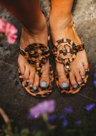 Leopard Hollow Out Flat Sandals