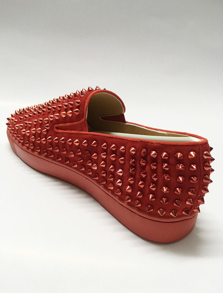 Milanoo Mens Red Studded Loafers Shoes Suede Spike Riverts Sneakers Skate Shoes
