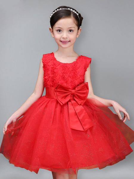 Milanoo Vestidos de niña de flores Cuello joya Tul Sin mangas Hasta la rodilla Princesa Silueta Arcos Vestidos formales para niños
