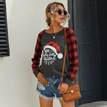 Sweatshirt mit Buchstaben Grafik, Kontrast und Karo Muster an Ärmeln