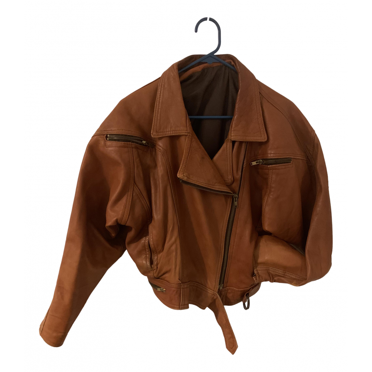 Non Signé / Unsigned N Camel Leather jacket for Women 38 FR