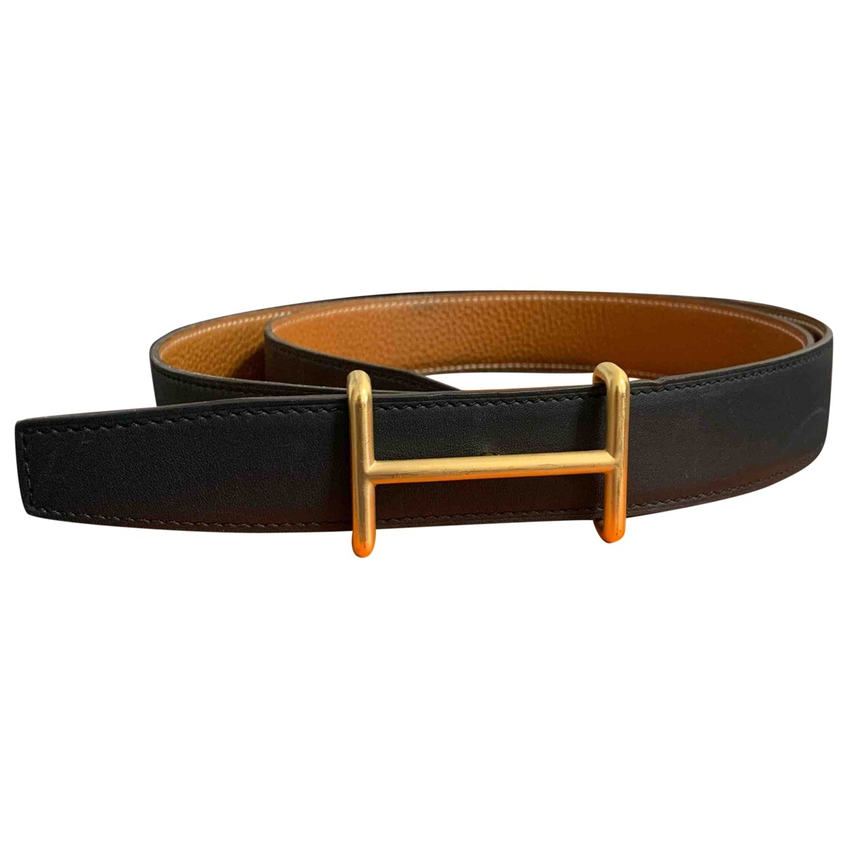 Hermès H Gold Leather belt for Men 100 cm