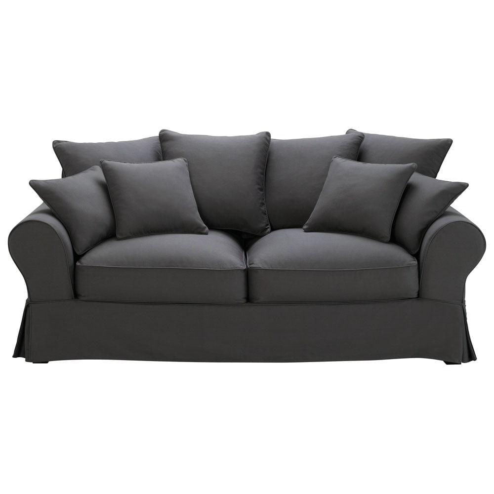 Ausziehbares 3-Sitzer-Sofa aus Baumwolle, schiefergrau Bastide