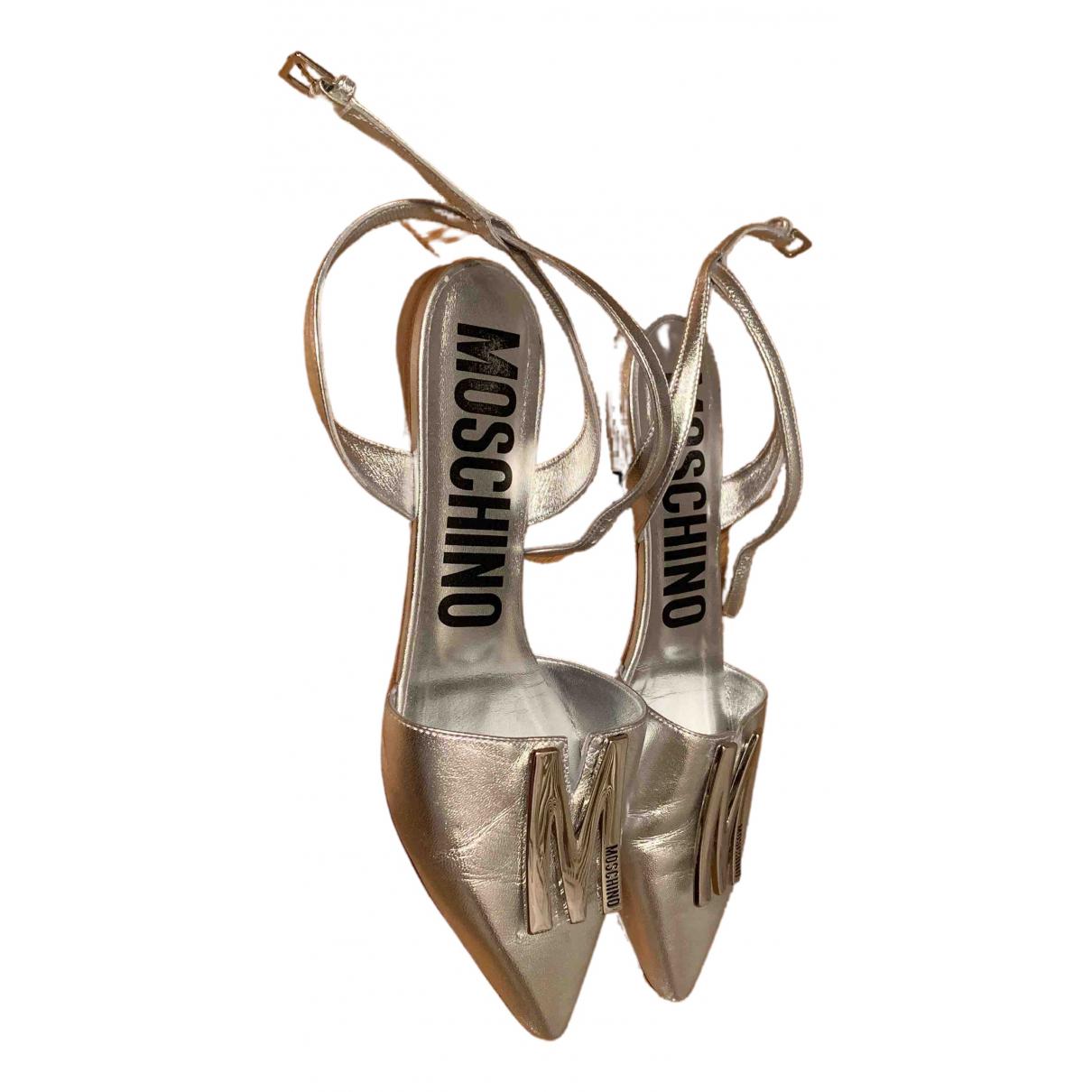 Moschino \N Ballerinas in  Silber Leder