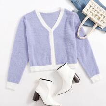 Pullover Mantel mit Kontrast Saum und Knopfen