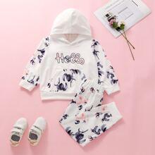 Outfits dos piezas para niña pequeña Bolsillo Floral Casual