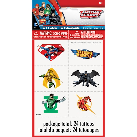 2 Pack of Justice League Tattoos, 24Ct By Warner Bros. | Michaels®