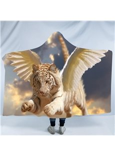 Tiger with Wings 3D Printing Polyester Hooded Blanket