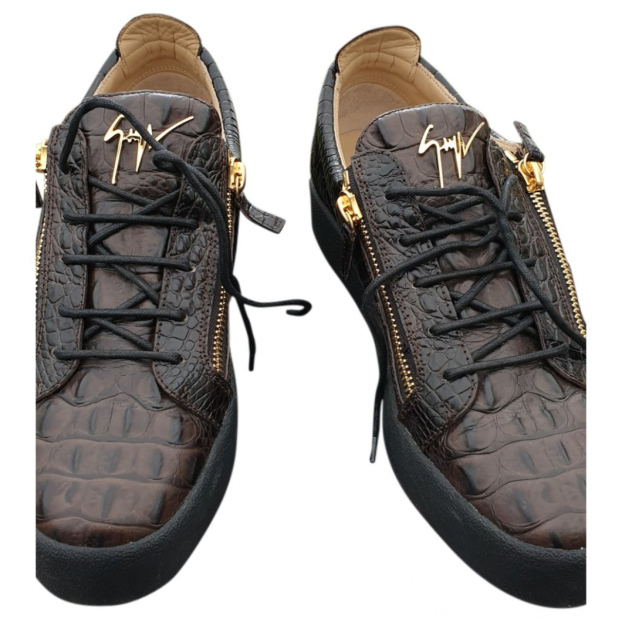 Giuseppe Zanotti \N Brown Crocodile Trainers for Men 45 EU