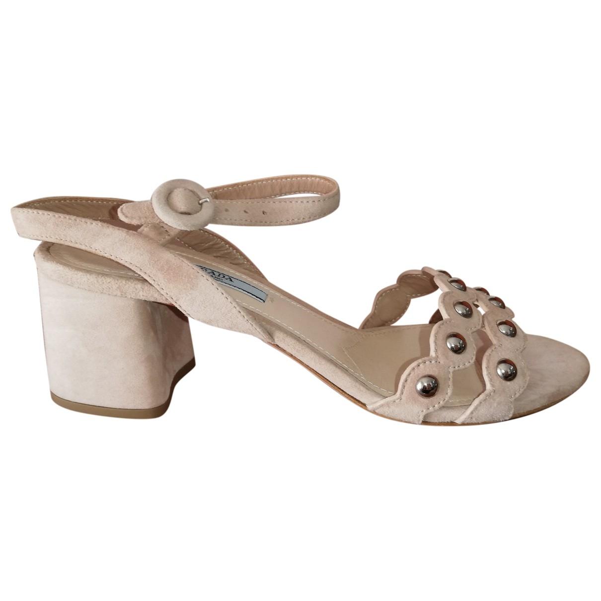 Prada - Sandales   pour femme en suede - rose