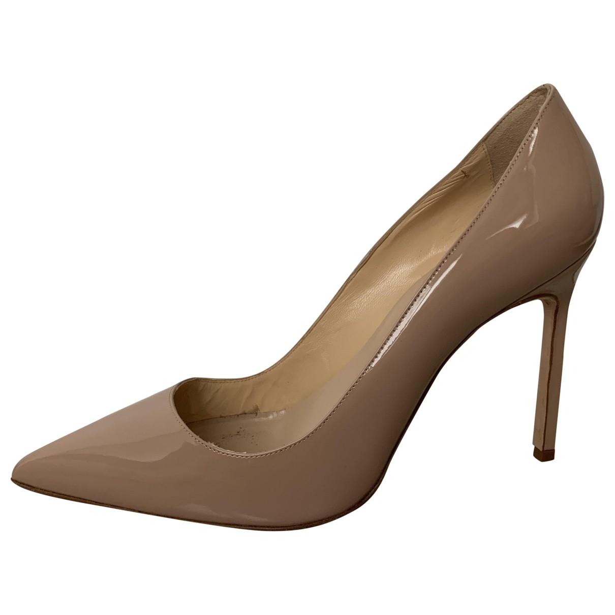 Manolo Blahnik - Escarpins   pour femme en cuir verni - beige