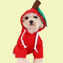 Capucha de perro con manzana