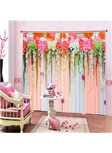 3D Colorful Flower Blackout Curtain Rosemary Floral Wedding Birthday Party Background Photo Backdrop