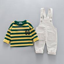 Toddler Boys Letter And Striped Tee & Corduroy Overall