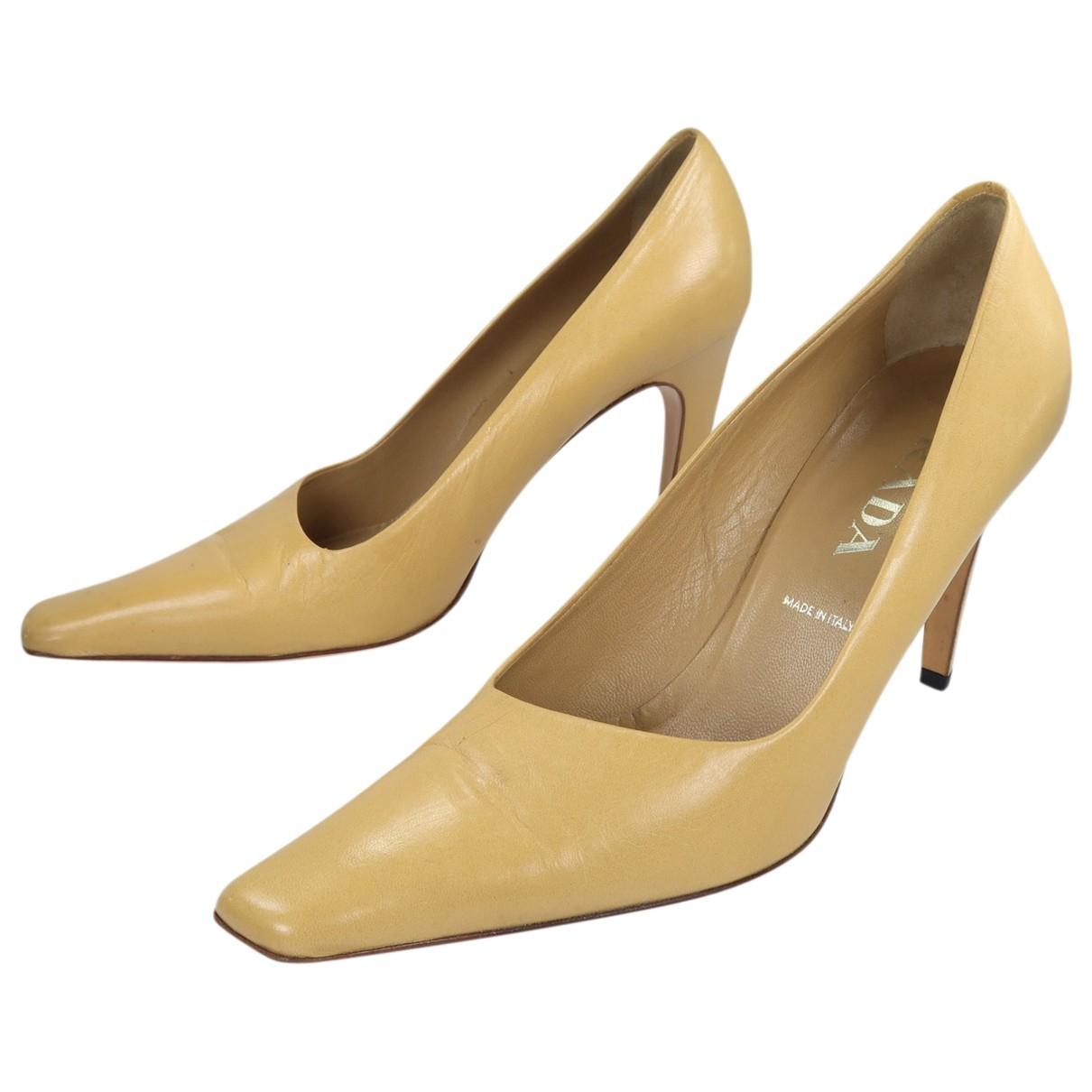 Prada - Escarpins   pour femme en cuir - camel