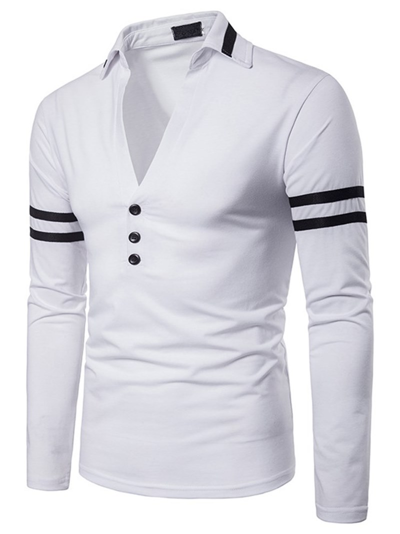 Ericdress Ptachwork Color Block Mens V-Neck Polo T Shirts