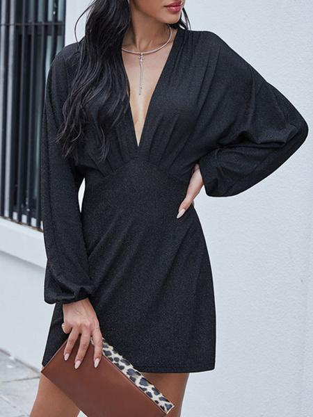 Milanoo Vestido de verano Mangas largas negras Cuello en V Vestido de playa de poliester plisado Vestido Rave Club
