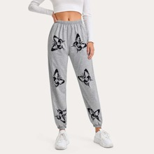 Butterfly Graphic Print Sweatpants