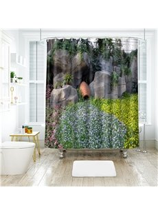3D Artificial Hill Printed Polyester Bathroom Shower Curtain