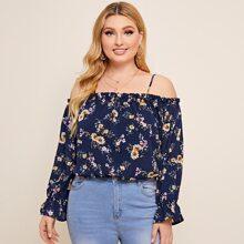 Schulterfreie Bluse mit Blumen Muster und Schosschenaermeln