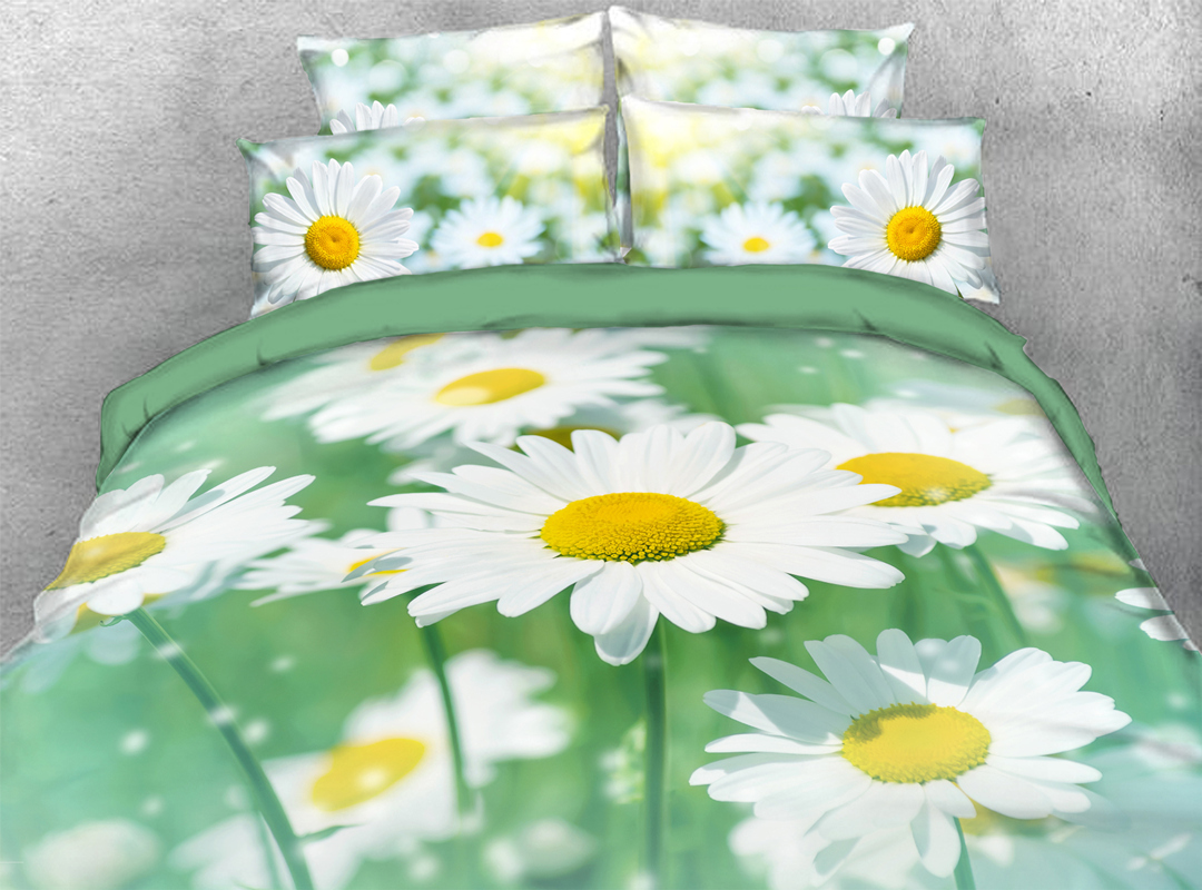 White Daisy 5-Piece Floral Comforter Set Zipper Ties Colorfast/Wear-resistant/Skin-friendly Bedding Sets